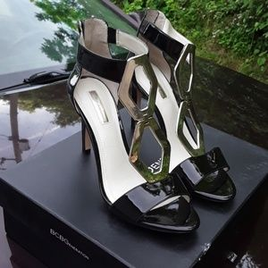 BCBG Cayce black high heels with silver octagons